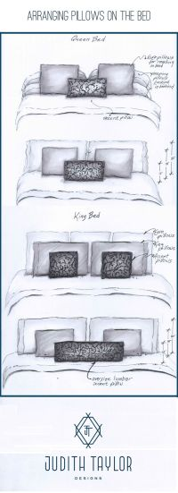 Arrangement and sizing for pillows on Queen and King bed