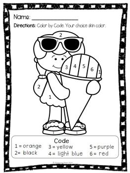Color by numbers, Summer coloring pages and Math task