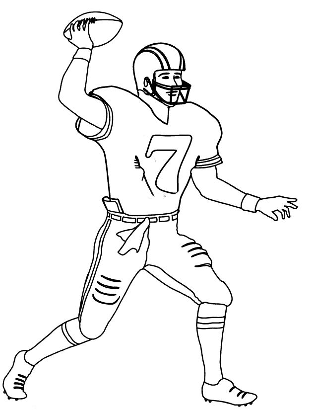 Printable Football Player Number 7 Coloring Pages