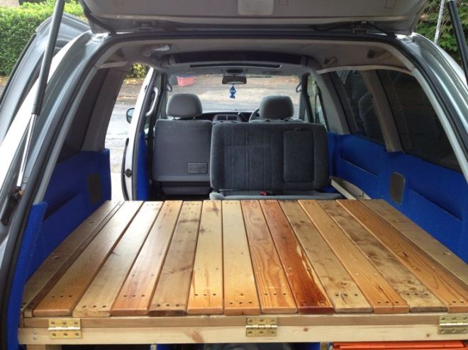 Diy toyota previa camper slide out slated bed van