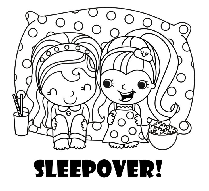 The perfect coloring page for a sleepover party coloring
