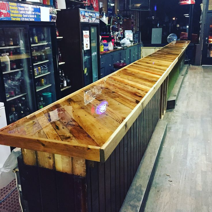 Bar top made from pallet boards and covered with epoxy  Man Caves  Pinterest  Bar tops Bar