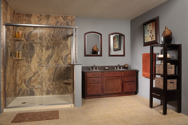 Re Bath Low Threshold Shower Base With Adara Granite Wall Surround System Learn More At Www