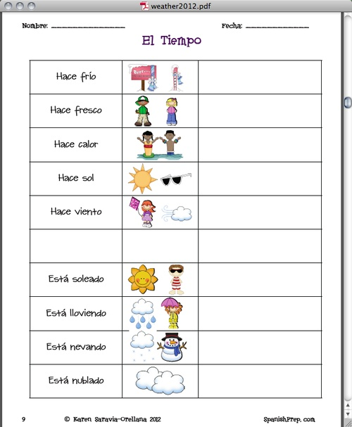 Spanish Weather Worksheets And Seasons Worksheet moreover Week 5  Seasons  Weather  and Time   THS Spanish I  Sra  Hatfield in addition Weather And Seasons Worksheets   Page 4   Super Teacher Worksheets likewise  in addition  likewise Spanish Weather And Seasons Worksheets   Free Worksheet Printables moreover Weather Worksheets Y6 Spanish by rhawkes   Teaching Resources besides spanish weather and seasons worksheets furthermore  likewise Seasons Worksheet The Best Worksheets Image Collection Weather moreover  also Spanish Seasons Worksheet   astana hotel info together with Spanish Weather   Seasons 18 Vocabulary IDs Worksheet   Learn besides Spanish Weather Worksheets And Seasons Worksheet besides How To Write Time In Writings And Papers Spanish Weather And Seasons as well Page Worksheet Packet On Telling Time In Plus Seasons Weather. on spanish weather and seasons worksheets