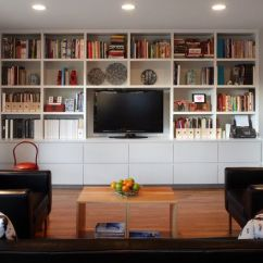 Sagging Sofa Child Size Furniture Cozy Family Room Design With Built In Bookshelf And ...