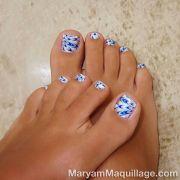 white and blue toe polish nails toes