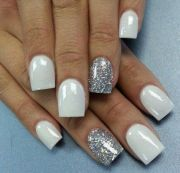 white nails with silver sparkle