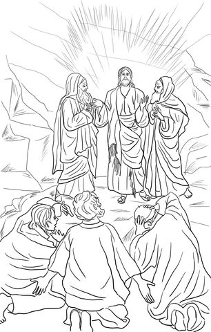 Jesus Transfiguration coloring page from Jesus Mission