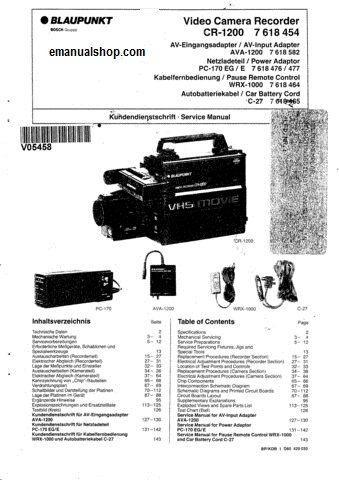 Blaupunkt Video Camera Recorder CR1200 Service Manual