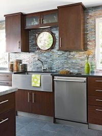 Glass Tile Backsplash Pictures | Cherry Cabinets, Recycled ...