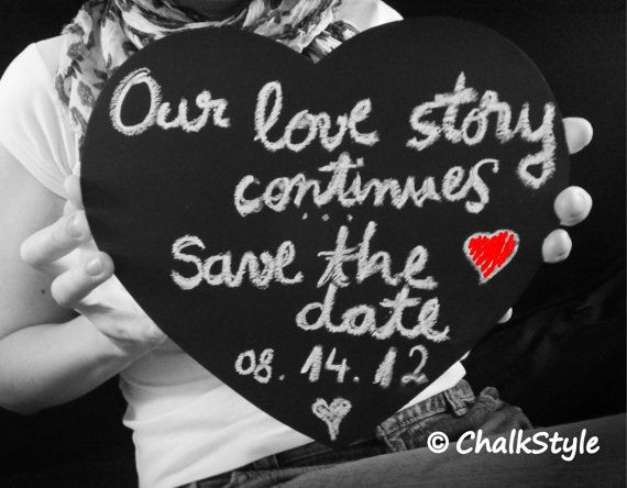 Large CHALKBOARD PHOTO PROP Heart Chalk Board for Rustic Wedding Decor or Engage