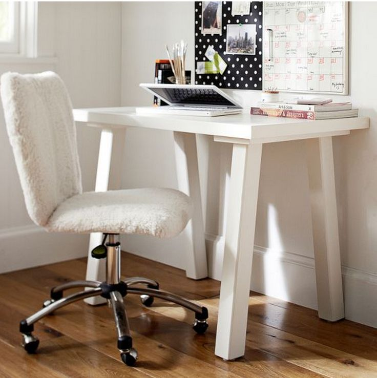 Pbteen fuzzy noarm rest desk chair  College Life  Pinterest  Chairs Desks and Desk chairs
