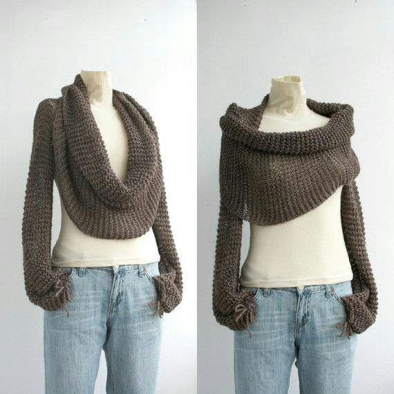 Hand knitted Long Sleeve Pistachio Green Bolero  Shrug