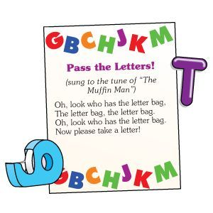 Pass a bag full of letters around the circle. When the song ends, whoever is holding the bag picks a letter and says its name.