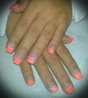 peach color nails.full set