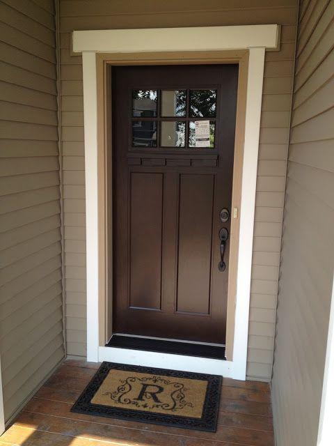 Beautiful brown door dark hardware and black door step  Interior Design  Pinterest