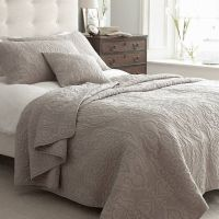 Kingston Taupe Quilted Bedspread | Taupe Cotton Bedspread ...