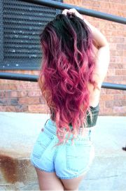 pink ombre dip dyed hair colorful