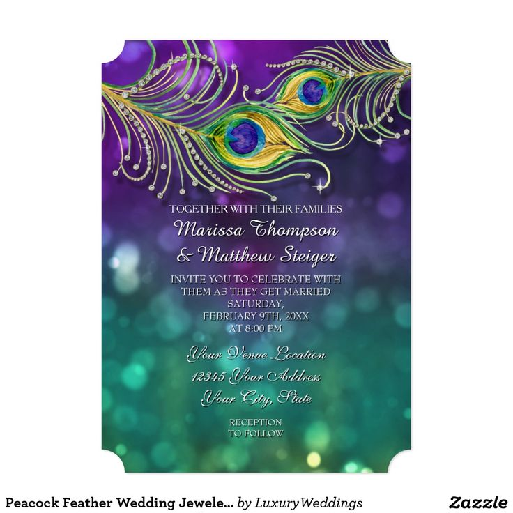 Peacock Feather Wedding Jeweled Feathers Bokeh Invitations