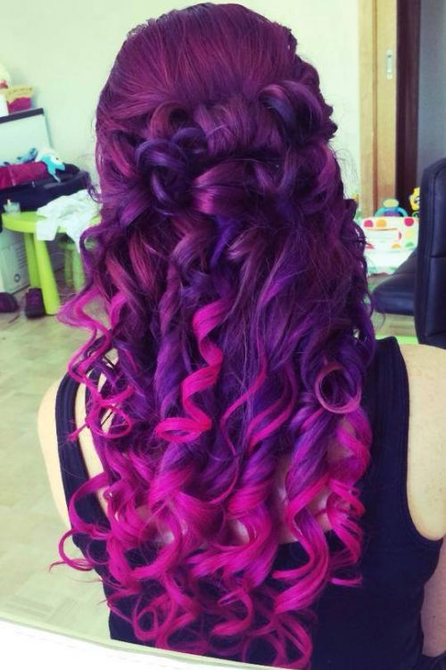 Vibrant Purple To Pink Ombre Hair Hair