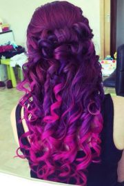 vibrant purple pink ombre hair