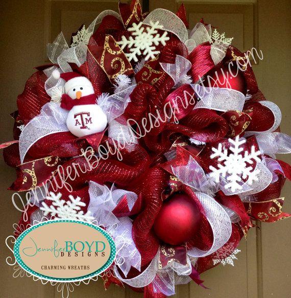Texas Aggies ATM Snowman Christmas Mesh Wreath By Jennifer