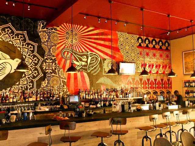 Shepard Fairey Obey Giant at Wynwood Kitchen  Bar Interior Walls via Flickr  inspirancia
