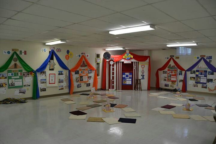 Tents around bulletins  Camping Theme Classroom  Pinterest  Burlap and Tent