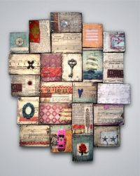 wood block art collage - different art pieces on wood ...