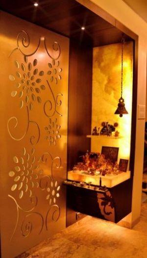 pooja puja modern designs rooms mandir temple flats indian prayer living nestopia interior ceiling false partition pop place step door