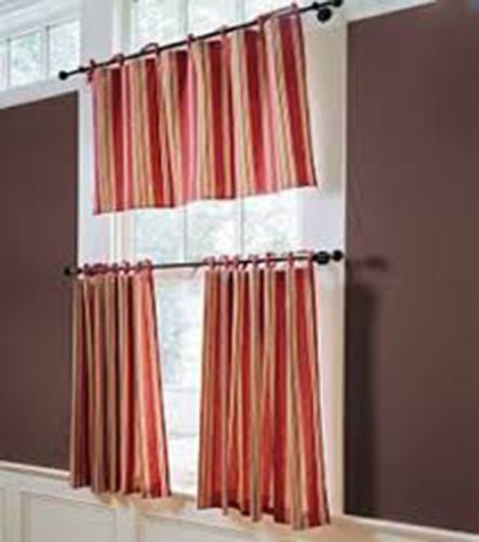 NEW Pottery Barn Hudson Striped Cafe Curtains 44x24 Tie Top Panel
