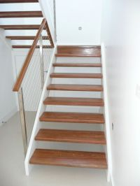 Spotted gum open riser stair with stainless steel posts ...