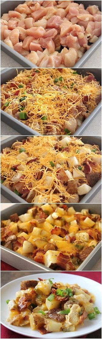 Easy Baked Potato And Chicken Casserole. LOADED With Chicken Breast Crispy Smashed Potatoes. I Topped With