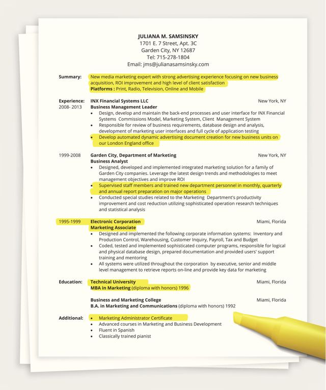 Tips for Writing a One Page Resume
