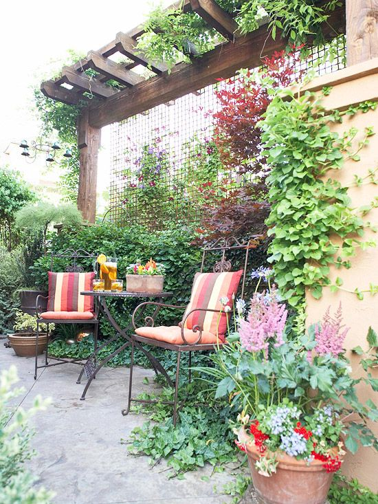 Create a Restful Nook  Use plants to cocoon a garden spot.  Trees often are used
