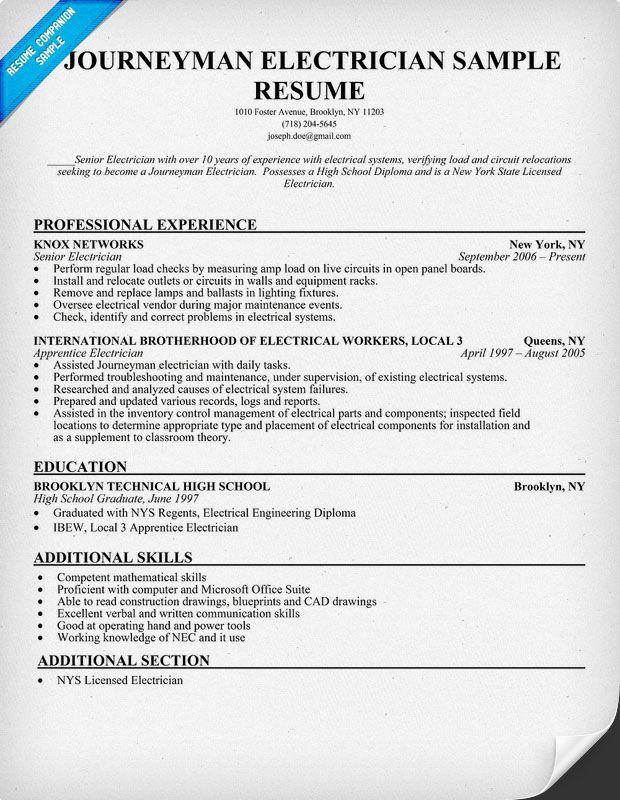 Journeyman Electrician Resume Sample resumecompanioncom