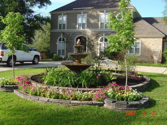front yard center garden with fountain