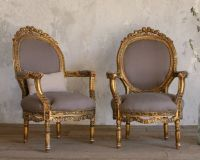 Vintage Gilt Louis XVI French Style Hand Carved Armchairs ...