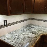 Backsplash Briton Bone mosaic and 6x6 tile with 5x8 mosaic