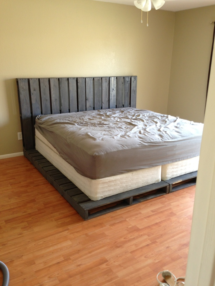 Pallet headboard and bed frame  Headboards  Pinterest  Pallet headboards Beds and Pallets