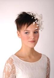 short hair bride with flower decoration