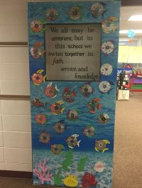 "Catholic schools week door decoration! ""We all may be ..."