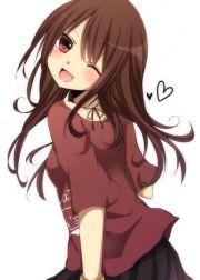 cute anime girl brown hair