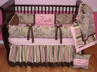 Avery Pink Paisley Crib Set This custom baby crib bedding ...