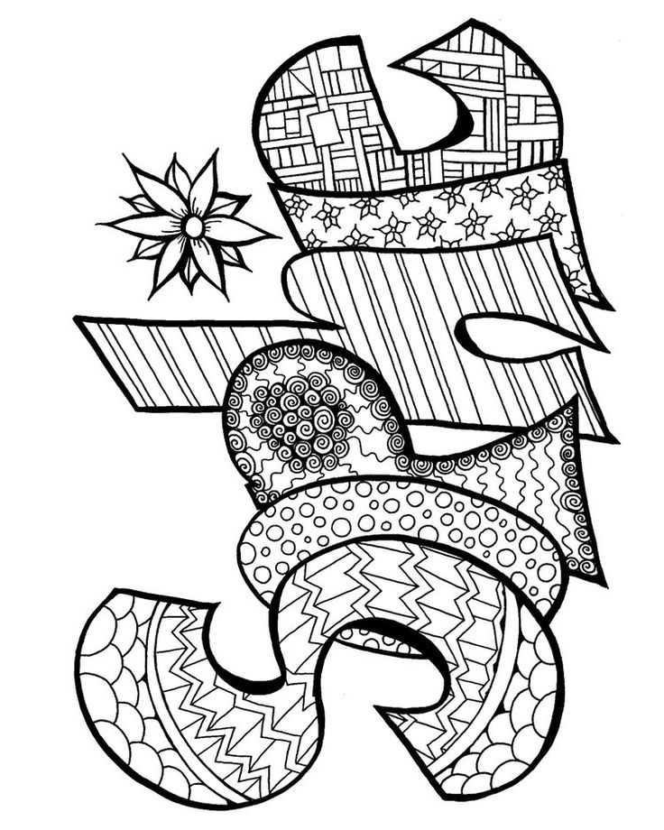 746 best images about Words Coloring Pages for Adults on