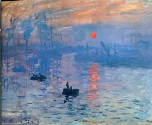 "Monet ""Impression, Sunrise"" 1873. So in love with this painting. This painting/title is why the painters called themselves"