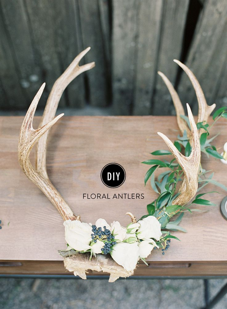 DIY Holiday Floral Antlers  Diy wedding planner Holiday photography and Mantles