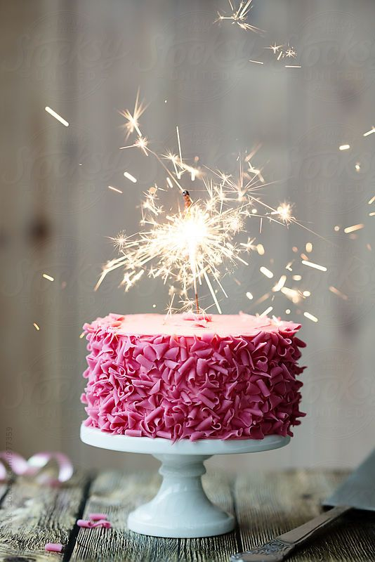 Pink Celebration Cake With Sparkler By Ruth Black All