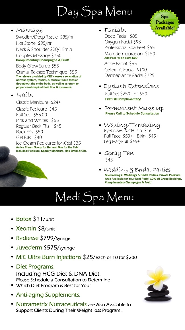 Day  Medi Spa Menu  Les Ciseaux Salon and Spa  Les