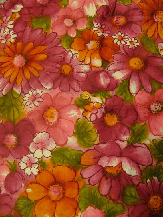 Vintage Mod Flower Power Groovy 1970s Hippie Fabric 1 yd  Fabric  Vintage  Pinterest
